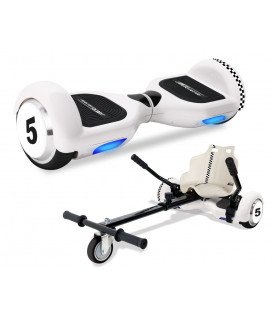 PACK HOVERBOARD Racing Blanc 6,5'' HB110  + KITKART